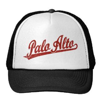 Palo Alto script logo in red distressed Trucker Hat