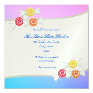 """Palo azul Mitzvah del caramelo de la frambuesa Invitación 5.25"""" X 5.25"""""""