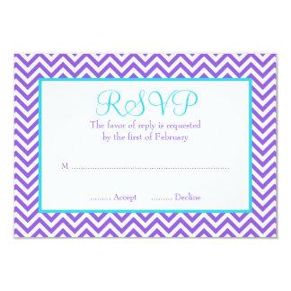 """Palo azul Mitzvah RSVP del trullo púrpura de Invitación 3.5"""" X 5"""""""