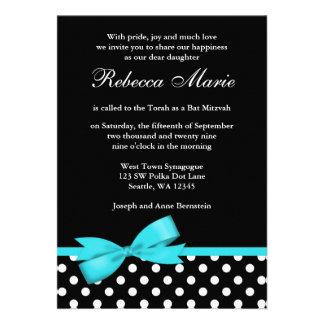 Palo azul y negro Mitzvah del trullo de los lunare Invitacion Personal