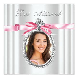 """Palo blanco rosado Mitzvah de la foto Invitación 5.25"""" X 5.25"""""""