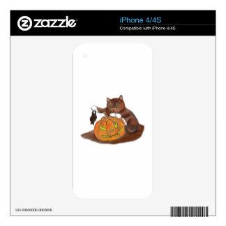 Palo, calabaza tallada y un gatito calcomanía para iPhone 4S