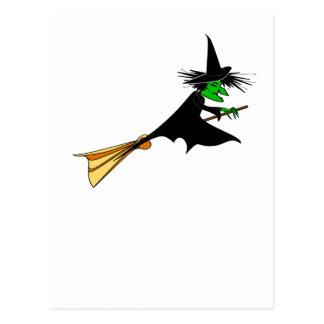 Palo de escoba travieso de la entrega de la bruja tarjetas postales