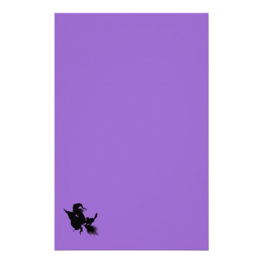 Palo de escoba y gato de la bruja en púrpura papeleria