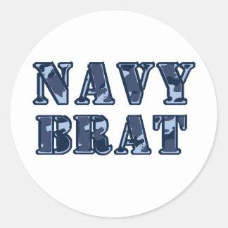 Palo de golf de la marina de guerra pegatina redonda