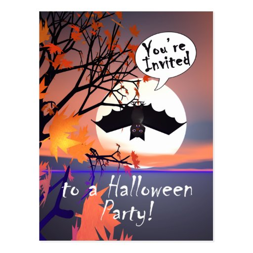 Palo de Halloween en la invitación del árbol Postal