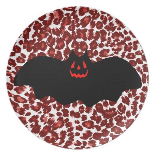 Palo de Halloween en puntos rojos del leopardo Plato Para Fiesta