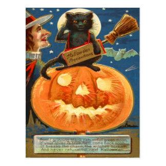 Palo de la bruja del gato negro de la linterna de tarjetas postales