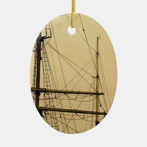 Palo de las naves adorno navideño ovalado de cerámica