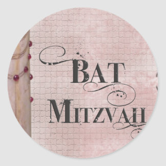 Palo de mármol Mitzvah del diseño Pegatinas Redondas