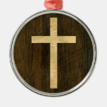 Palo de rosa de madera cruzado cristiano básico ornamentos de reyes