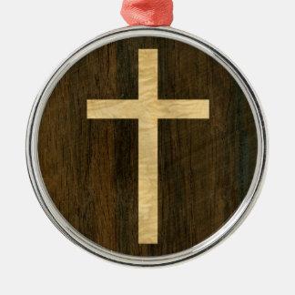 Palo de rosa de madera cruzado cristiano básico adorno redondo plateado