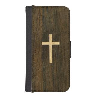 Palo de rosa de madera cruzado cristiano básico cartera para iPhone 5