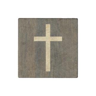 Palo de rosa de madera cruzado cristiano básico imán de piedra