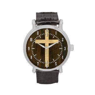 Palo de rosa de madera cruzado cristiano básico reloj de mano