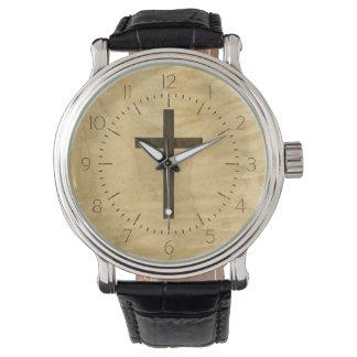 Palo de rosa de madera cruzado cristiano básico relojes de mano