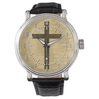 Palo de rosa de madera cruzado cristiano básico relojes de pulsera