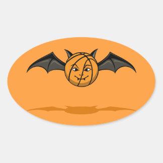 Palo de vampiro del baloncesto de Halloween Pegatina Ovalada