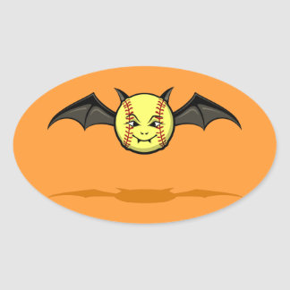 Palo de vampiro del softball de Halloween Pegatina Ovalada