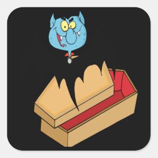 palo de vampiro divertido con el dibujo animado pegatinas cuadradas
