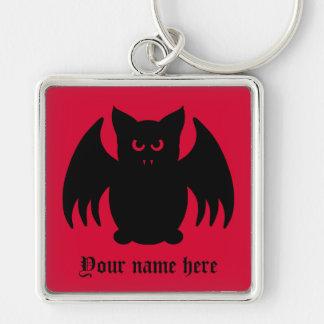 Palo de vampiro negro gótico lindo llavero cuadrado plateado