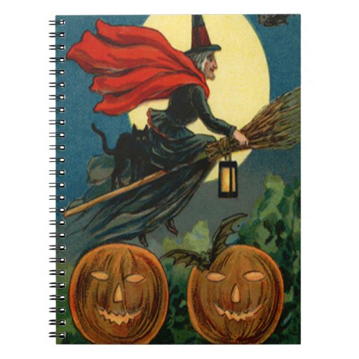 Palo del gato negro de la linterna de Jack O del v Spiral Notebook