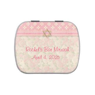 Palo floral rosado Mitzvah Frascos De Caramelos