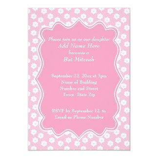 """Palo floral rosado Mitzvah Invitación 5"""" X 7"""""""
