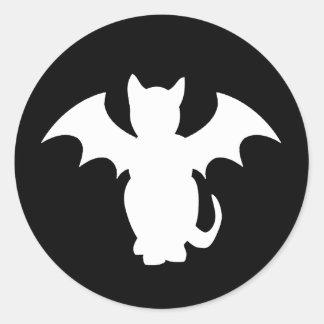 Palo gótico del gato de Lectro del gatito Etiquetas Redondas