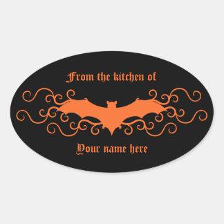 Palo gótico elegante del victorian en naranja en colcomanias ovaladas personalizadas