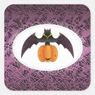 Palo melenudo púrpura de Halloween Calcomanías Cuadradas Personalizadas