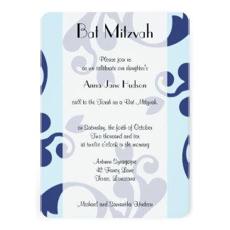 Palo Mitzvah - damasco francés, remolinos - azul