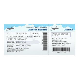 """Palo Mitzvah de la barra del billete de avión Invitación 4"""" X 9.25"""""""