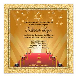 """Palo Mitzvah de la estrella del oro de Hollywood Invitación 5.25"""" X 5.25"""""""