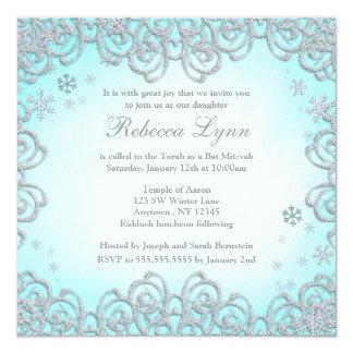 """Palo Mitzvah de los copos de nieve del remolino Invitación 5.25"""" X 5.25"""""""