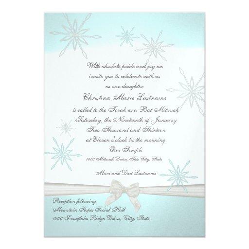 """Palo Mitzvah del copo de nieve del invierno Invitación 5"""" X 7"""""""