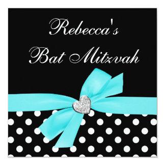 """Palo Mitzvah del corazón del arco del negro azul Invitación 5.25"""" X 5.25"""""""