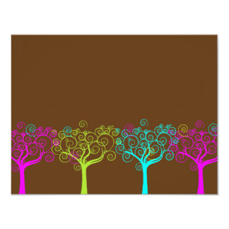 """Palo Mitzvah RSVP del rosa del chocolate de Claire Invitación 4.25"""" X 5.5"""""""