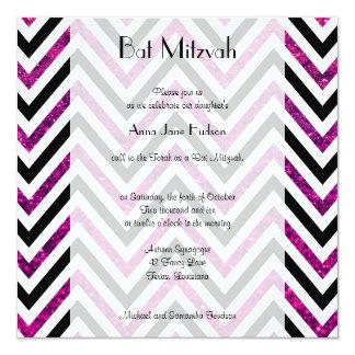 """Palo Mitzvah - zigzag (Chevron), brillo - rosa Invitación 5.25"""" X 5.25"""""""