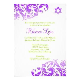 Palo púrpura elegante Mitzvah del Flourish de Invitación 12,7 X 17,8 Cm