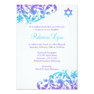 Palo púrpura elegante Mitzvah del Flourish del