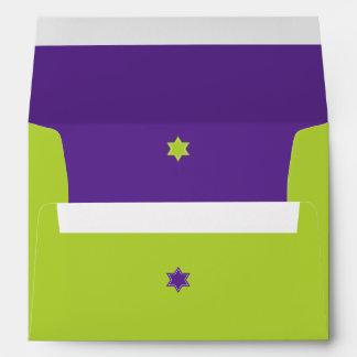 Palo púrpura Mitzvah del bloque del color verde