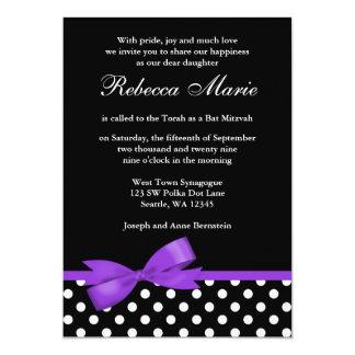 Palo púrpura y negro Mitzvah del arco de los Invitación Personalizada