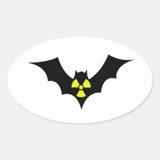 Palo radiactivo pegatina ovalada