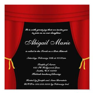 """Palo rojo Mitzvah de la cortina de Hollywood Invitación 5.25"""" X 5.25"""""""