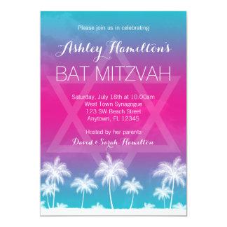 """Palo rosado azul Mitzvah del trullo tropical Invitación 5"""" X 7"""""""