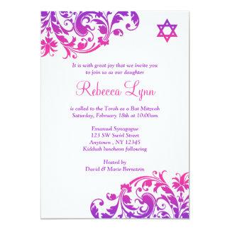 """Palo rosado púrpura elegante Mitzvah del Flourish Invitación 5"""" X 7"""""""