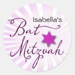 Palo rosado y púrpura Mitzvah del starburst Etiquetas Redondas