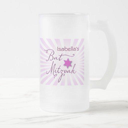 Palo rosado y púrpura Mitzvah del starburst Taza Cristal Mate
