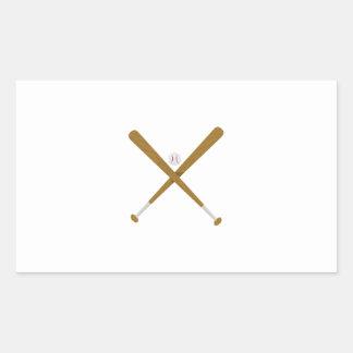 Palo y bola cruzados pegatina rectangular
